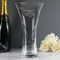 Hand Cut Gold Diamante Heart Vase with Swarovski Element