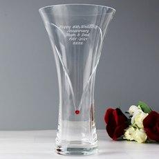 Large Hand Cut Ruby Diamante Heart Vase with Swarovski Element