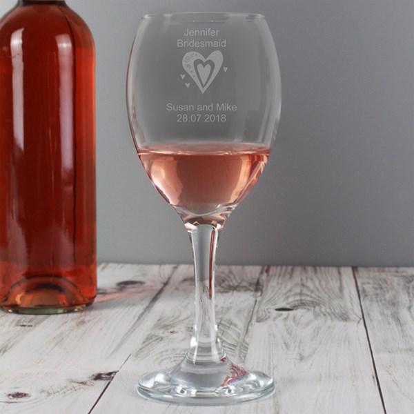 Personalised Designer Wine Glass Hearts