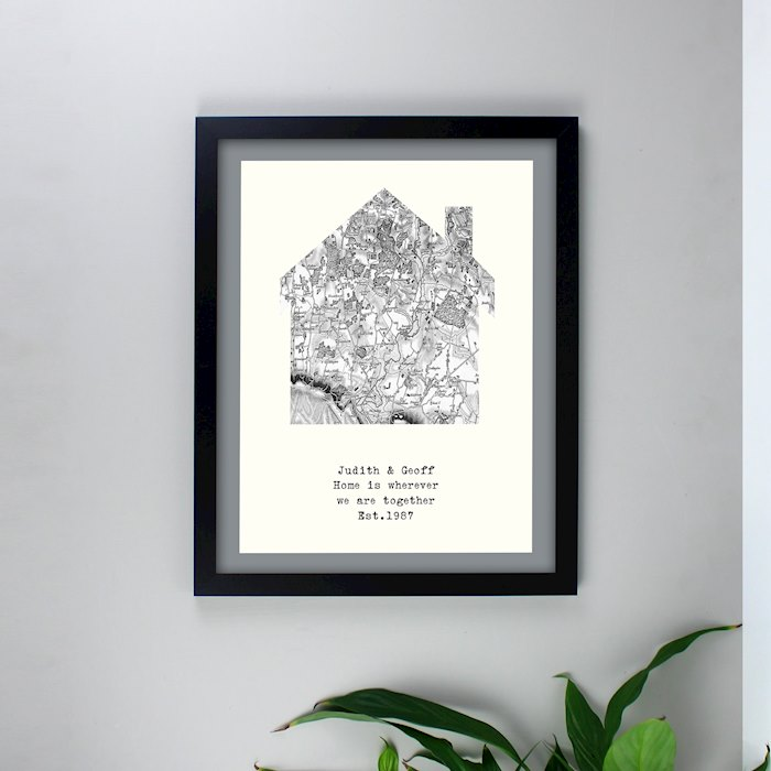 1805 - 1874 Old Series Map Home Black Framed Poster Print