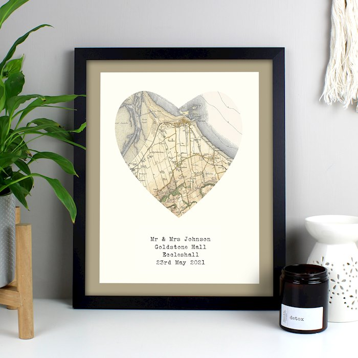 1896 - 1904 Revised Map Heart Black Framed Poster Print