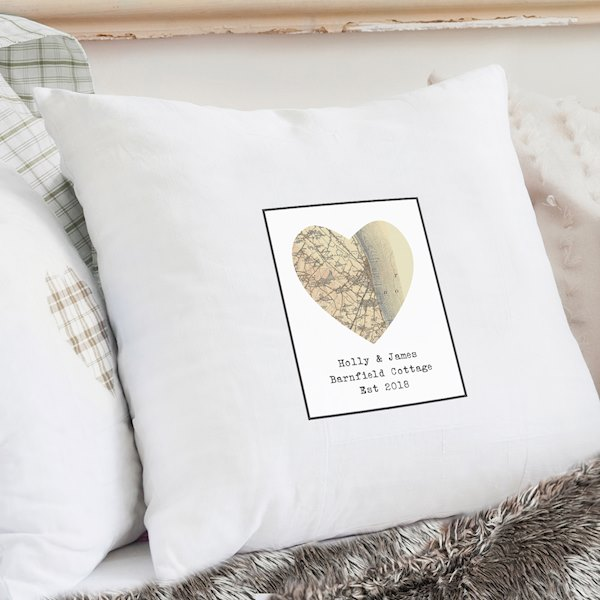1896 - 1904 Revised New Map Heart Cushion Cover