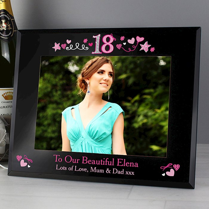 18th Birthday Black Glass 7x5 Frame