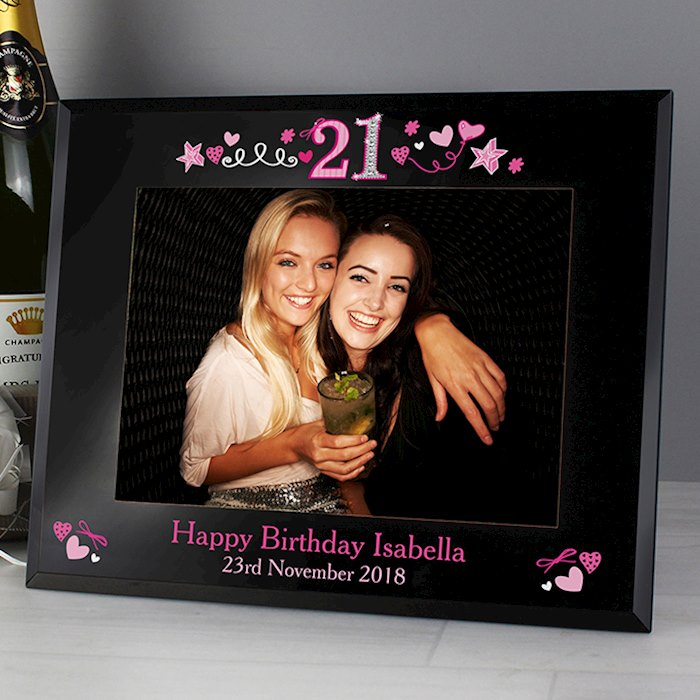 21st Birthday Black Glass 7x5 Photo Frame