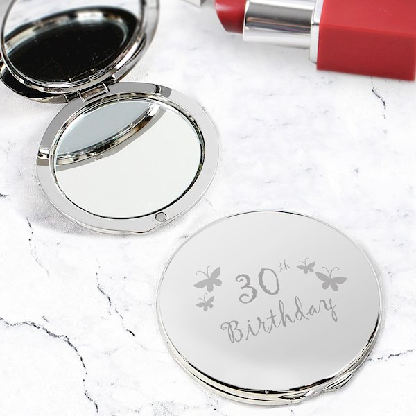 30th Butterfly Round Compact Mirror