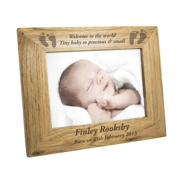 7x5 Baby Feet Wooden Photo Frame
