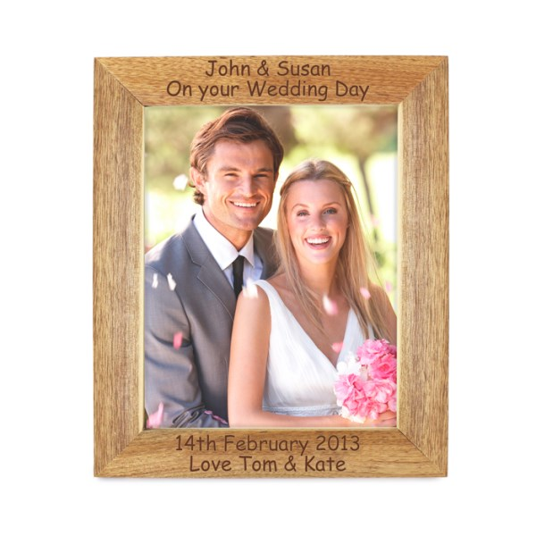 5x7 Wooden Photo Frame - 4 lines of text