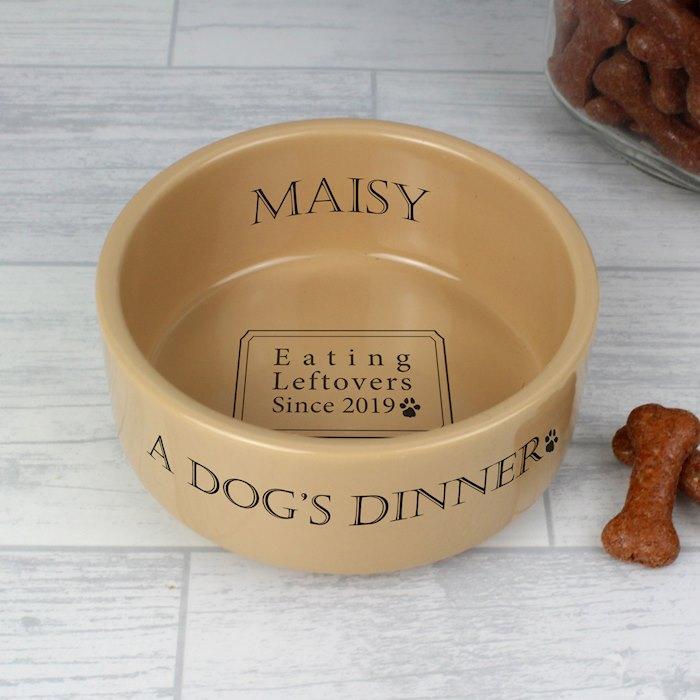 A Dogs Dinner Medium Brown Dog Bowl