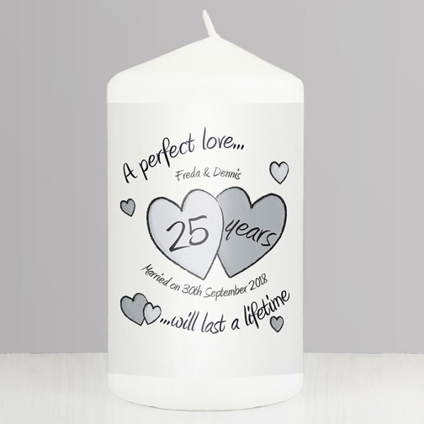 A Perfect Love Silver Anniversary Candle