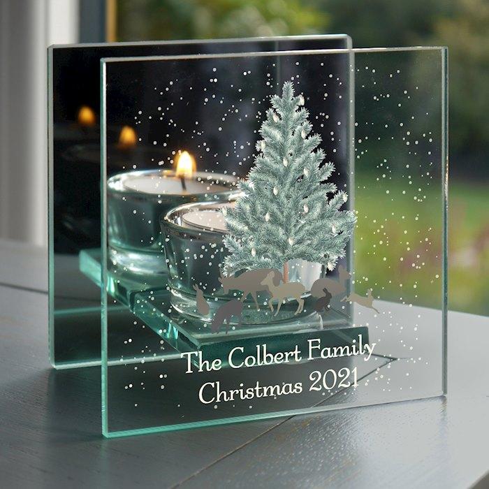 A Winter's Night Mirrored Glass Tea Light Holder
