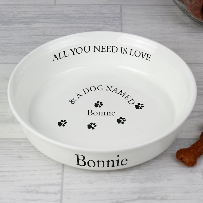 All You Need Is Love White Dog Bowl