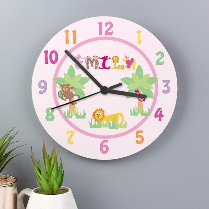 Personalised Animal Alphabet Girls Wooden Clock