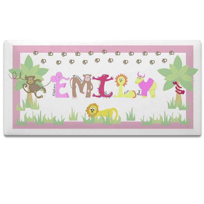 Animal Alphabet Girls Door Plaque