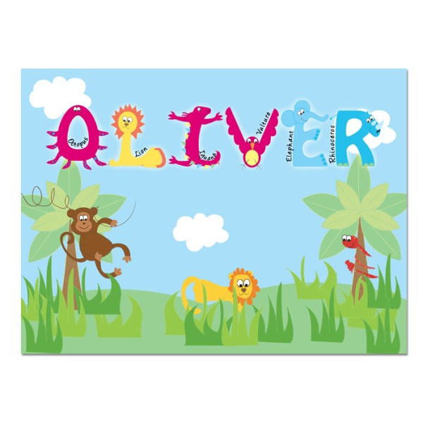 Animal Alphabet Laminated Print Placemat