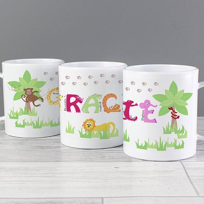 Girls Animal Alphabet Plastic Mug