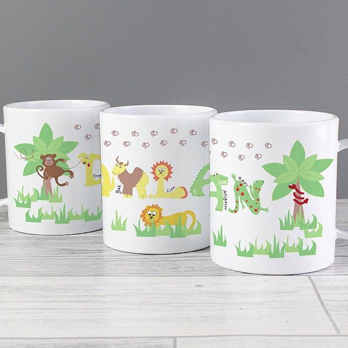 Personalised Animal Alphabet Plastic Mug
