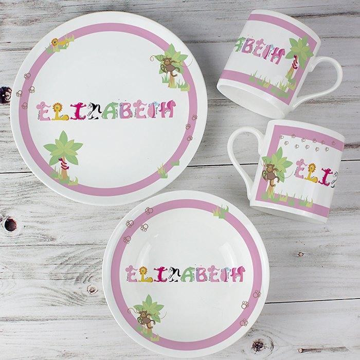 Animal Name Breakfast Set Pink - Personalised