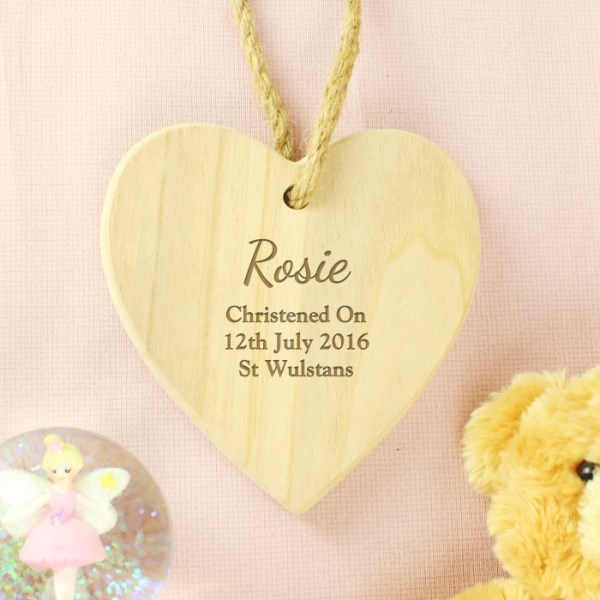 Any Message Chunky Wooden Heart Decoration