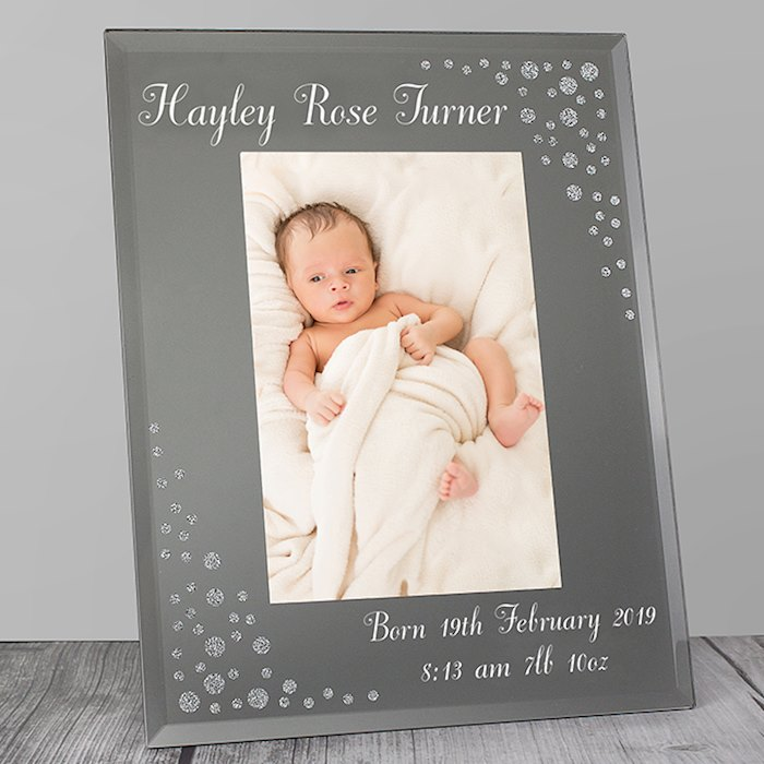 Any Message Diamante 4x6 Portrait Glass Photo Frame