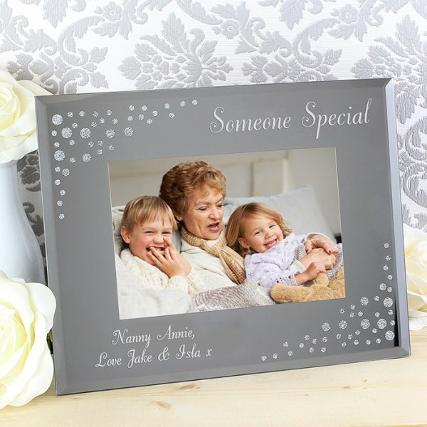 Any Message Diamante Landscape 6x4 Glass Photo Frame