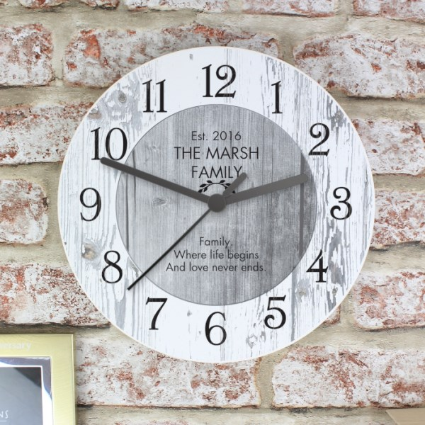 Any Message Shabby Chic Wooden Clock