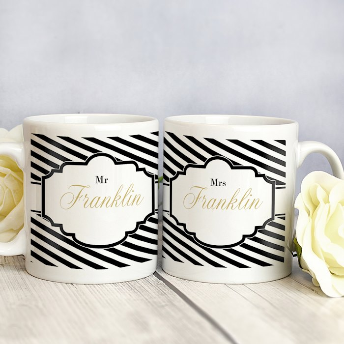 Art Deco Striped Mug Set