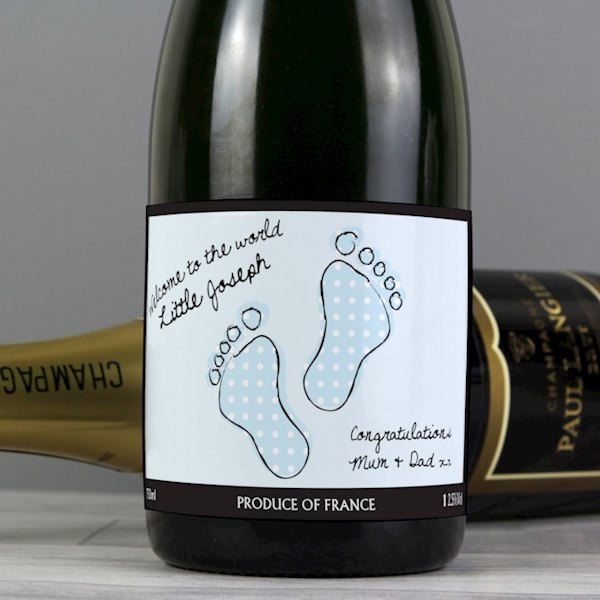 Baby Footprint Blue Champagne