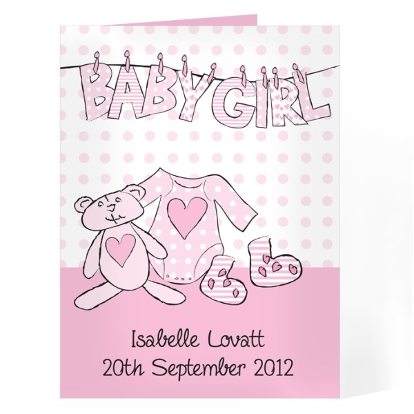 Baby Girl Letter Washing Line Card