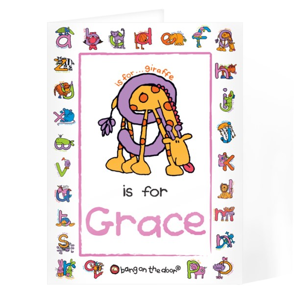 Bang On The Door Animal Alphabet Girls Card