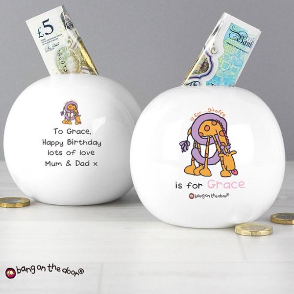 Bang On The Door Animal Alphabet Girls Money Box