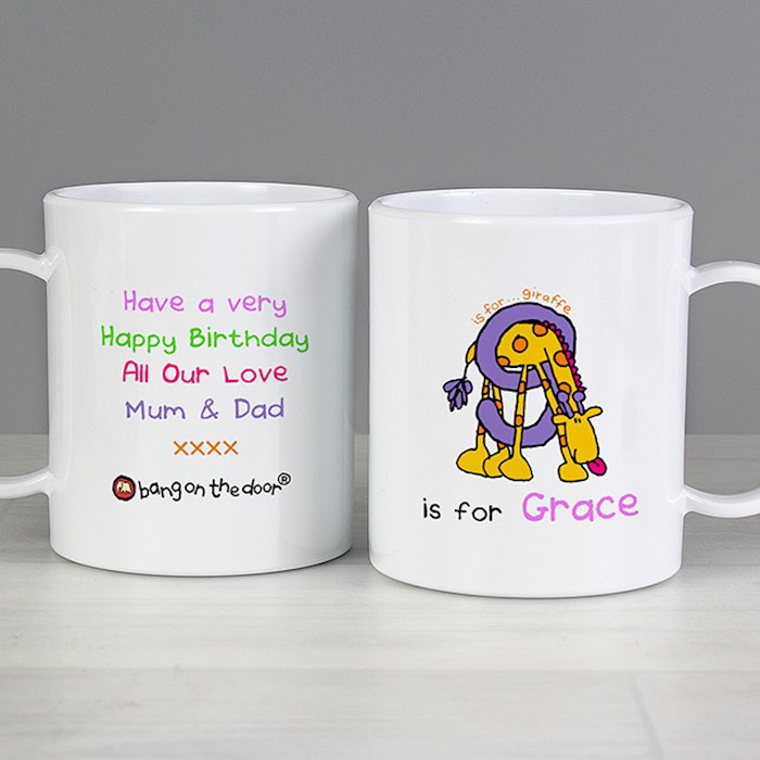 Personalised Bang On The Door Animal Alphabet Girls Plastic Mug