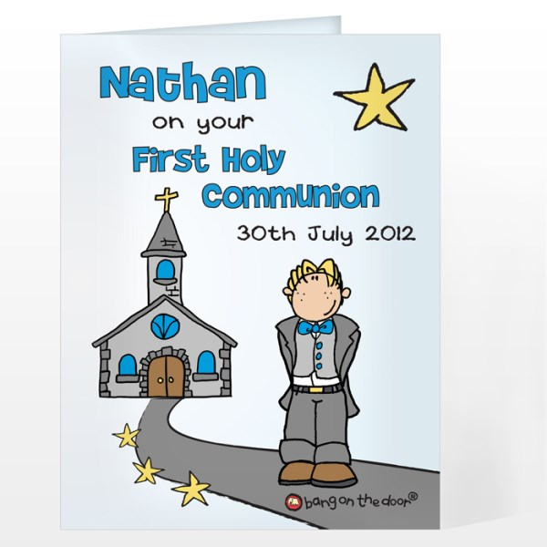 Bang On The Door First Holy Communion Boys Card