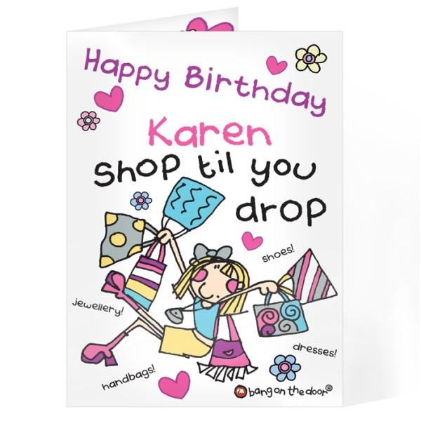 Bang On The Door Shop Till You Drop Card