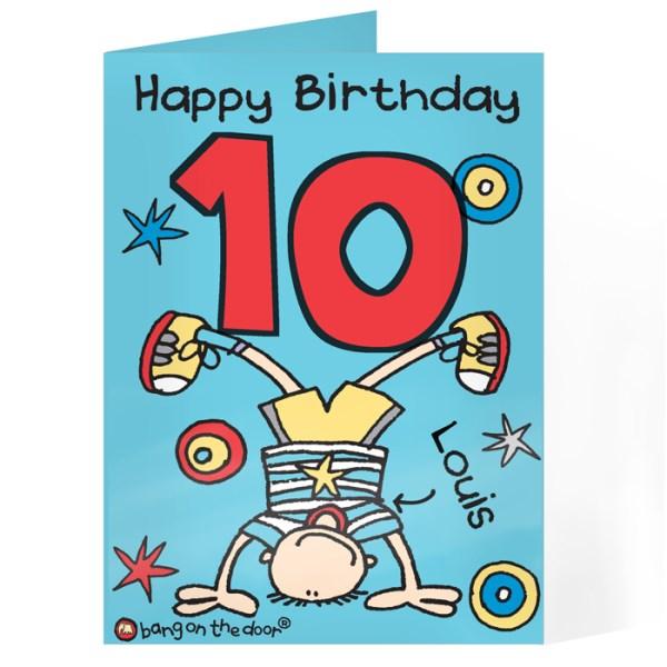 Bang on the Door Upsidedown Boy Age Card