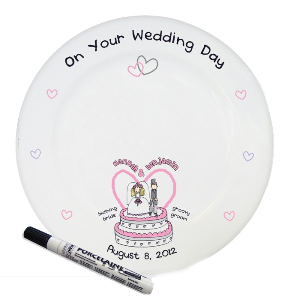 Bang On The Door Wedding Message Plate with Pen