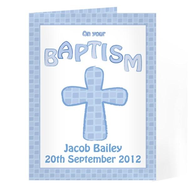 Baptism Card Blue