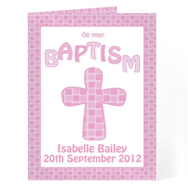 Baptism Card Pink
