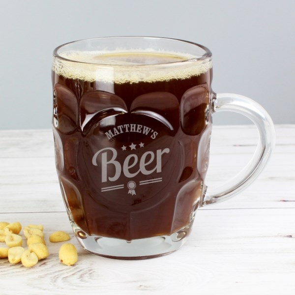 Beer Label Dimple Tankard Pint Glass