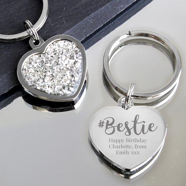 #Bestie Diamante Heart Keyring