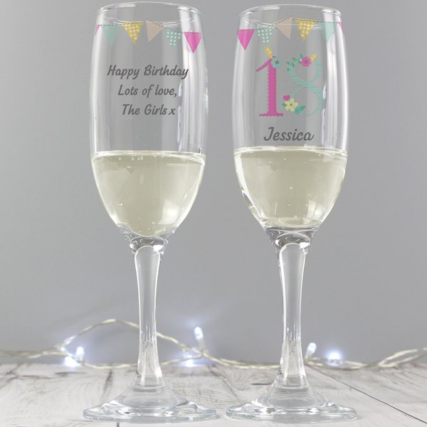 Birthday Craft Glass Flute