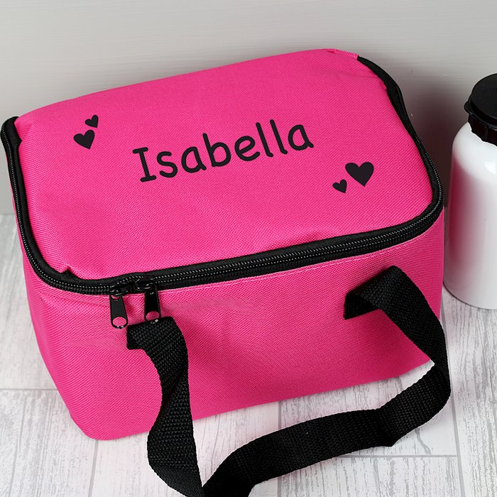 Black Hearts Pink Lunch Bag