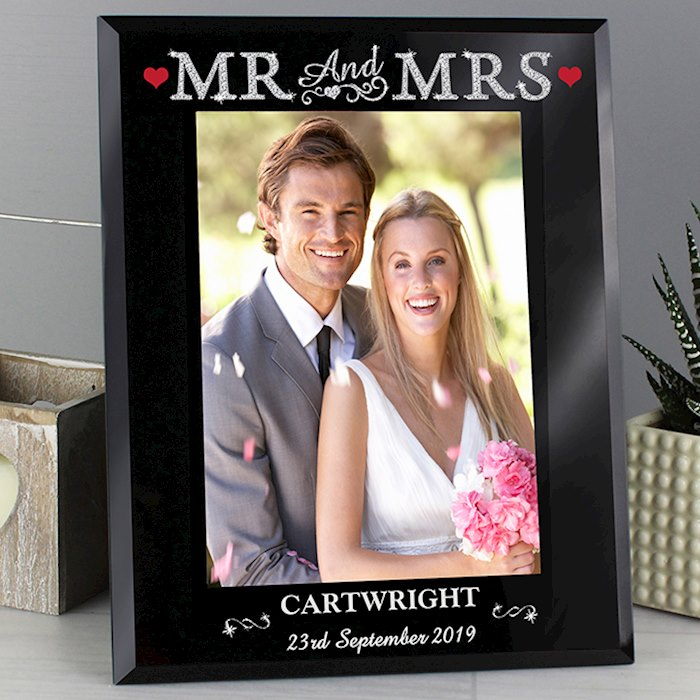 Bling Mr & Mrs Black Glass 5x7 Photo Frame