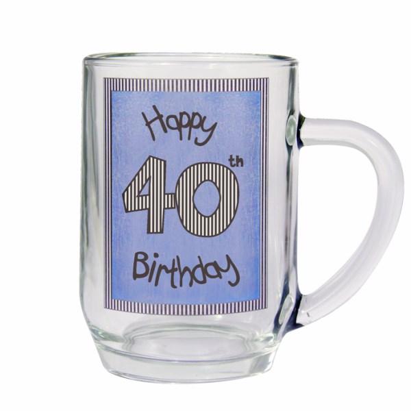 Blue 40th Happy Birthday Tankard