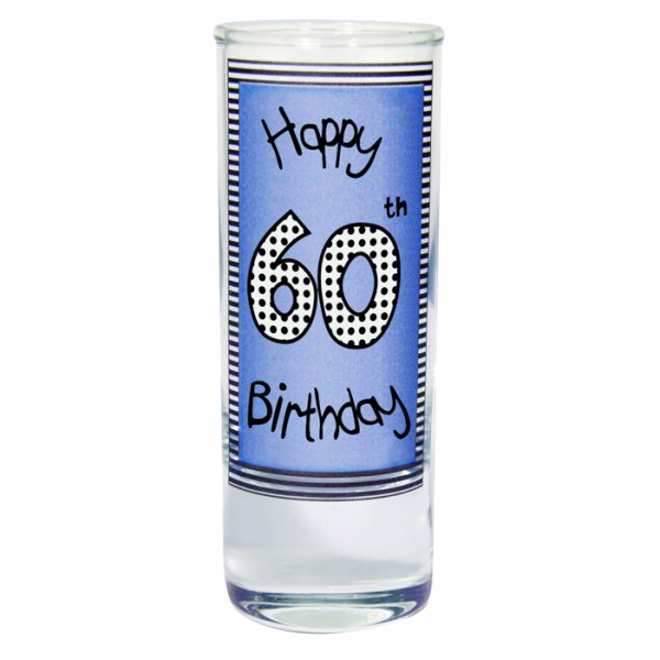 Blue 60th Happy Birthday Shot Glass