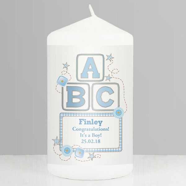Blue ABC Candle