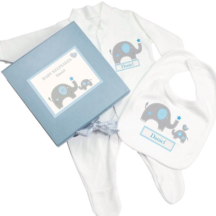 Blue Baby Elephant Gift Set - Babygrow & Bib