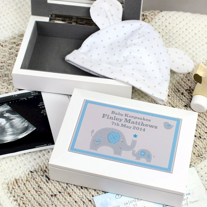 Blue Baby Elephant White Wooden Keepsake Box