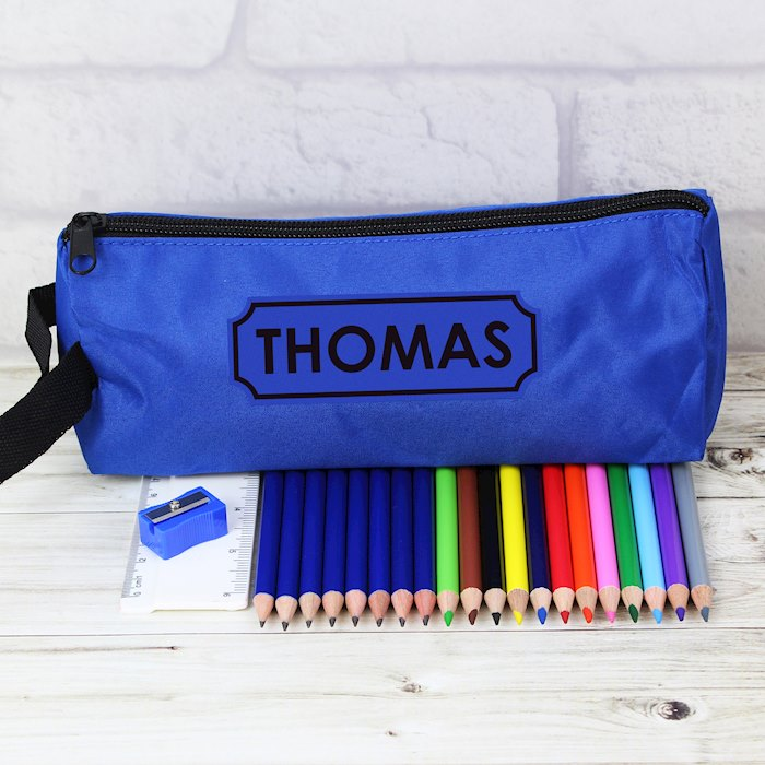 Personalised Blue Pencil Case with Contents