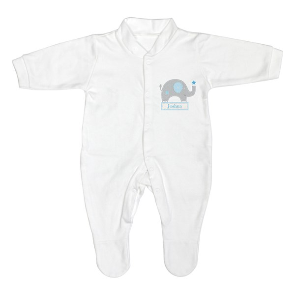 Blue Elephant 0-3 Months Babygrow