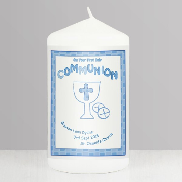 Blue First Holy Communion Candle